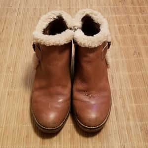 Sam Edelman Leather and Sherpa Trim Wedges